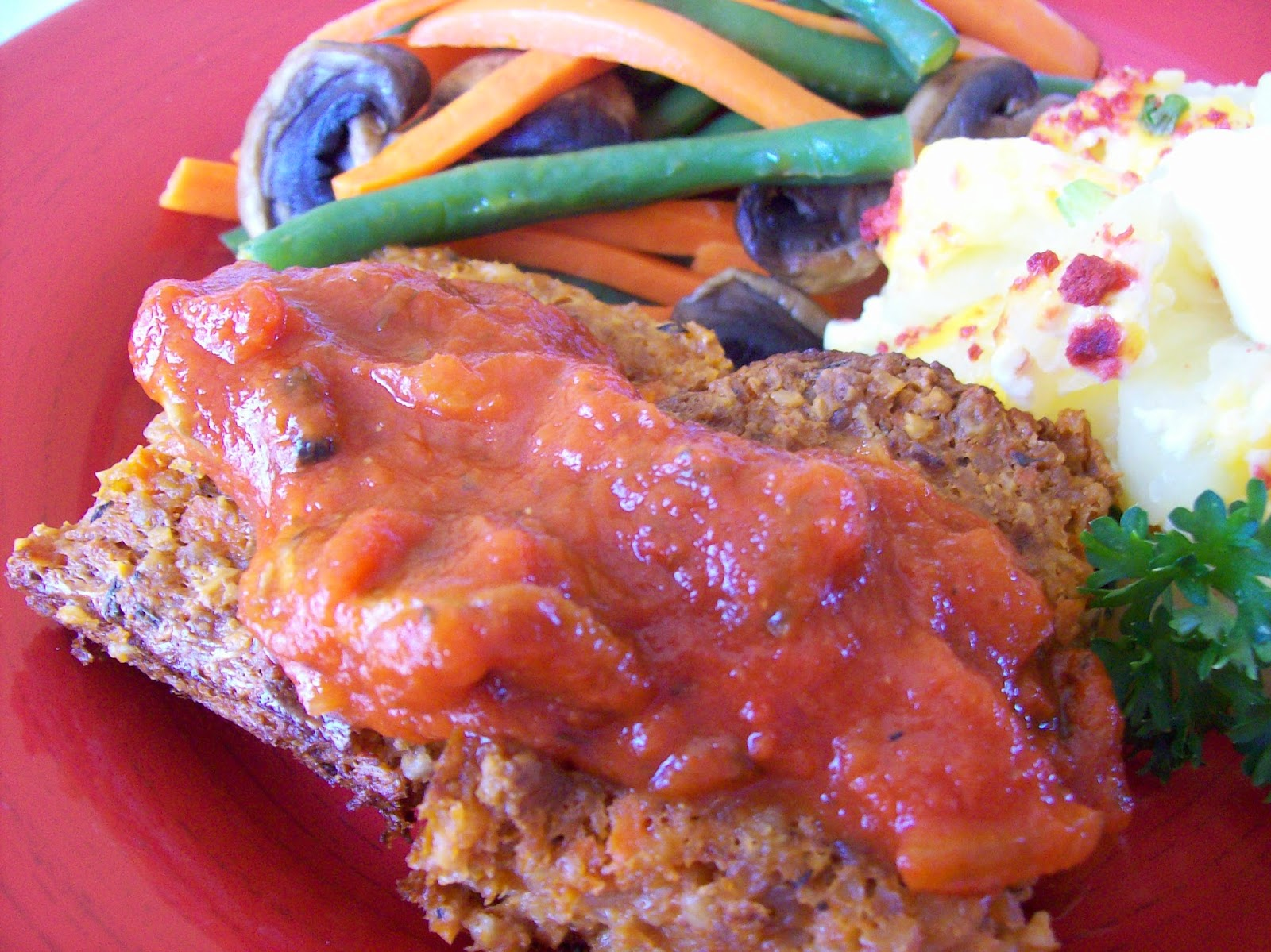 Meatless Loaf with potatoes and vegetables.