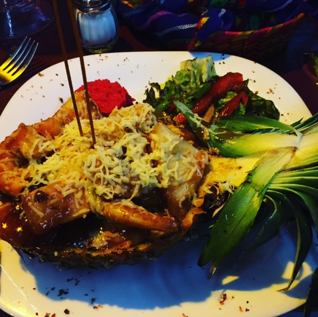Jorge's Hideaway Shrimp Shack shrimp diablo in a pineapple