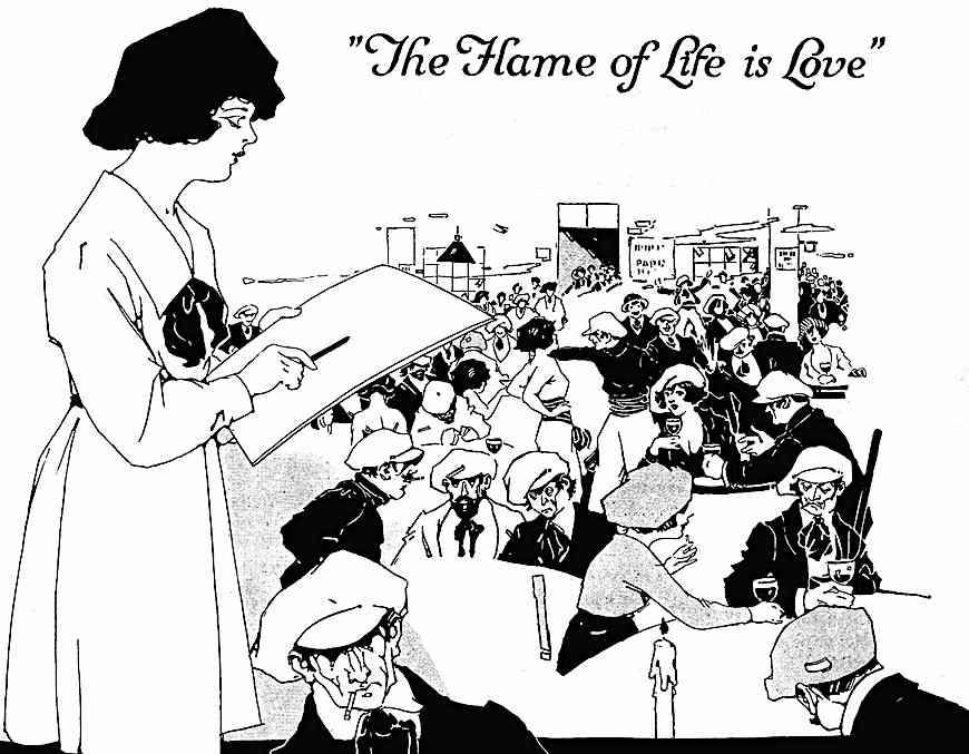 The flame of life is love, 1921 pretentious artists, an illustration