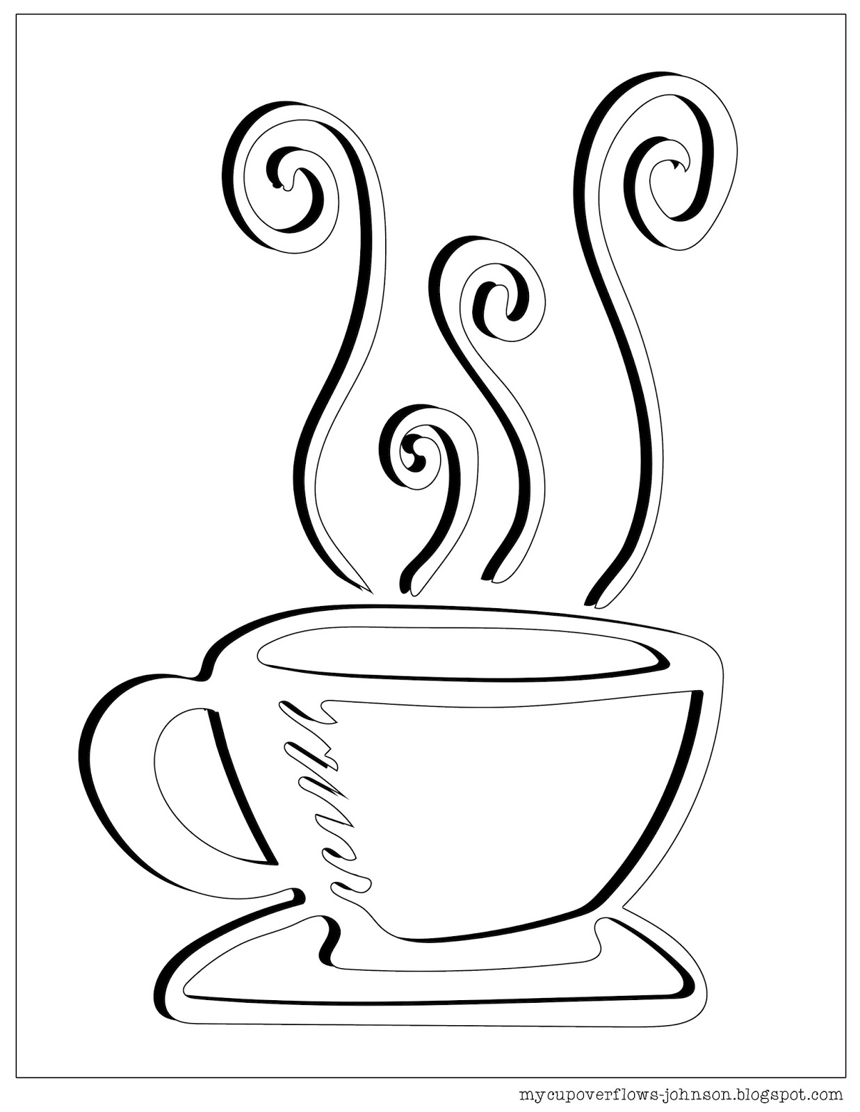 cup of tea coloring page - my cup overflows tea and coffee