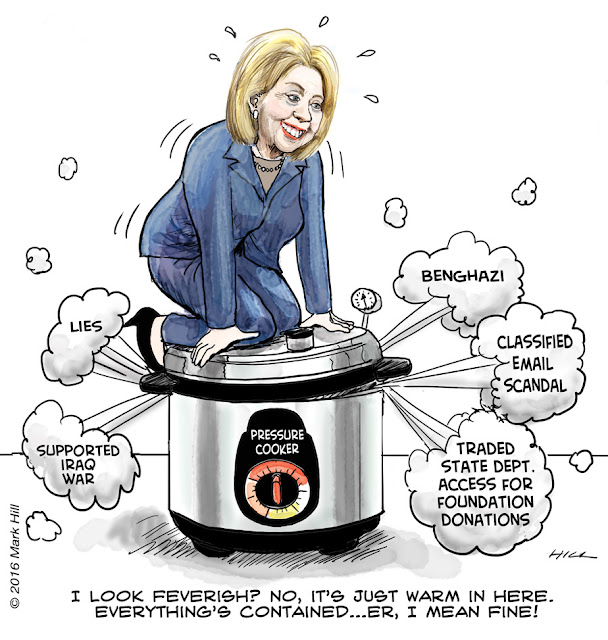 Hillary Clinton Pressure Cooker cartoon
