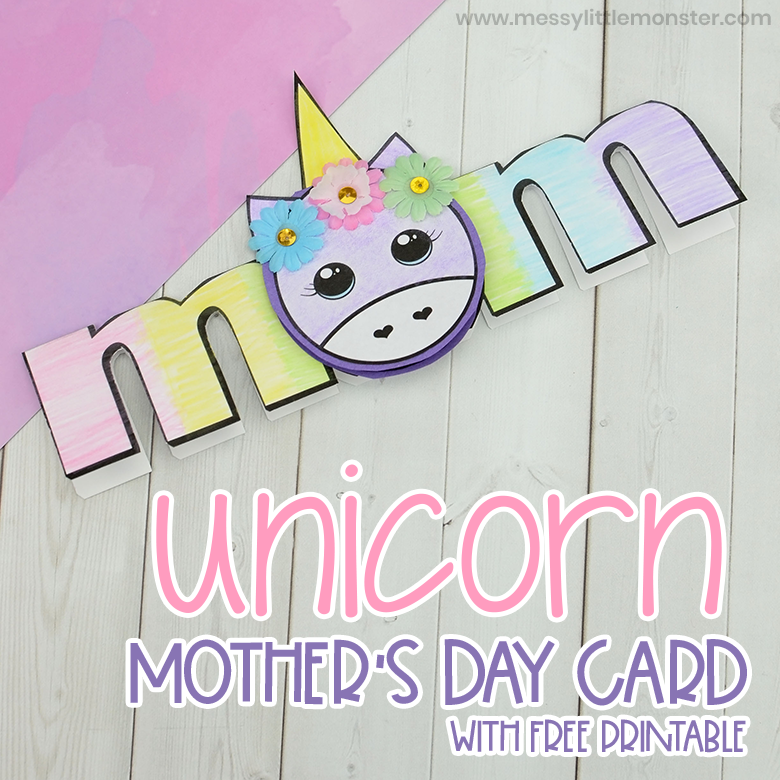 Unicorn Printable Mother's Day Card Craft