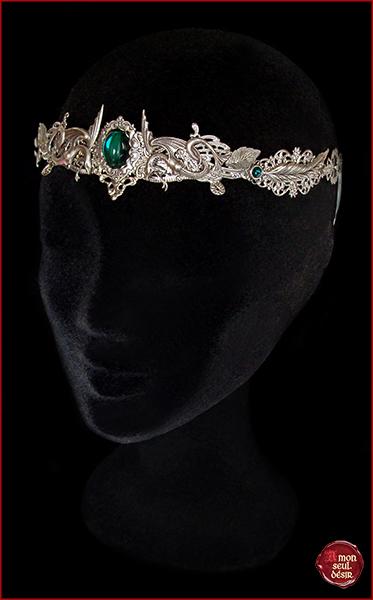 couronne medievale renaissance serpent vert emeraude mythologie