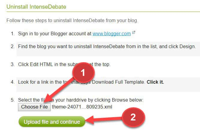 Uninstall intensedebate from blog