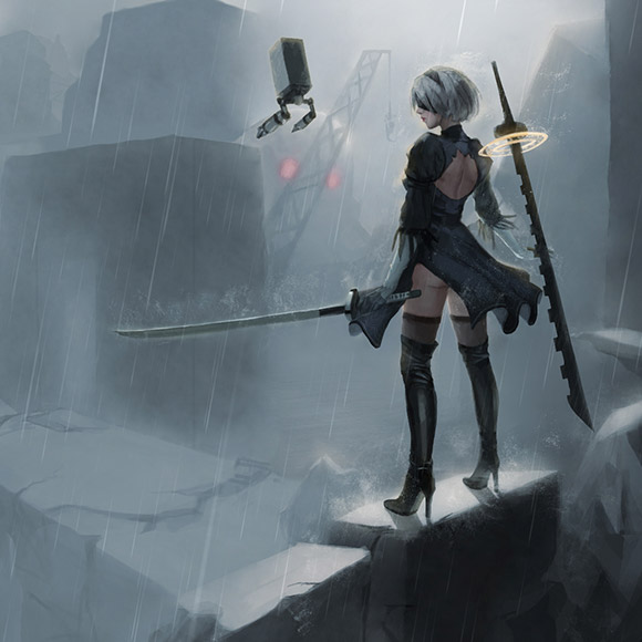 Nier Automata - 2B In The Rain Animated Wallpaper Engine
