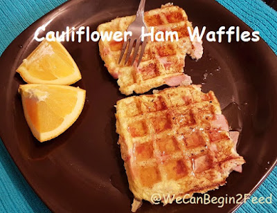 Cauliflower Ham Waffles by @WeCanBegin2Feed