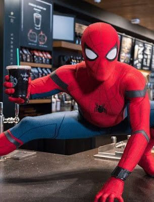 Spider-Man Grabs A Starbucks Coffee