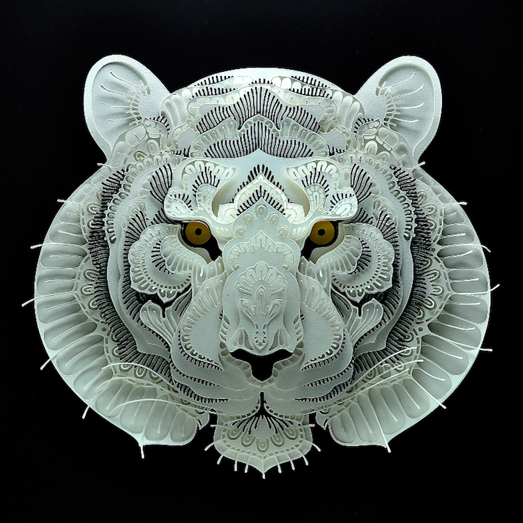 sculptue, aniimals, paper, paper, art, tiger, wild animals, flowartstation,