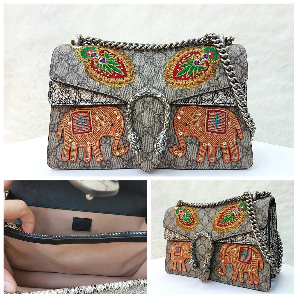 Tas Box Gucci Dionysius Gg Embroidered Elephant Shoulder Sling Kulit Ori Dionysus Asli Leather