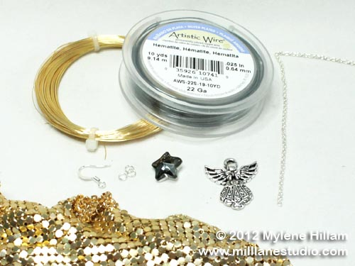 Wire, beads, angel charm and gold glow mesh for the angel earrings.