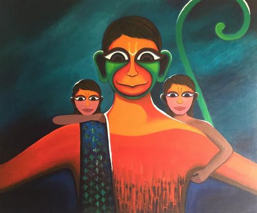 Hanuman painting by Deeksha Roy at Pradarshak