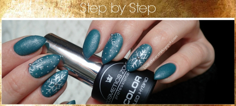 Cosmetics Zone | lakier hybrydowy | 047 Aventurine Blue | gel art 085 Silver Patina | Vitamin Base | zimowe zdobienie | zimowe paznokcie | winter nails | śnieżynki na paznokciach | świąteczne paznokcie | christmas nails | tutorial | step by step nails | paznokcie krok po kroku | winter nails step by step |