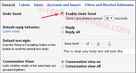Undo Sent Email on Gmail 30 seconds