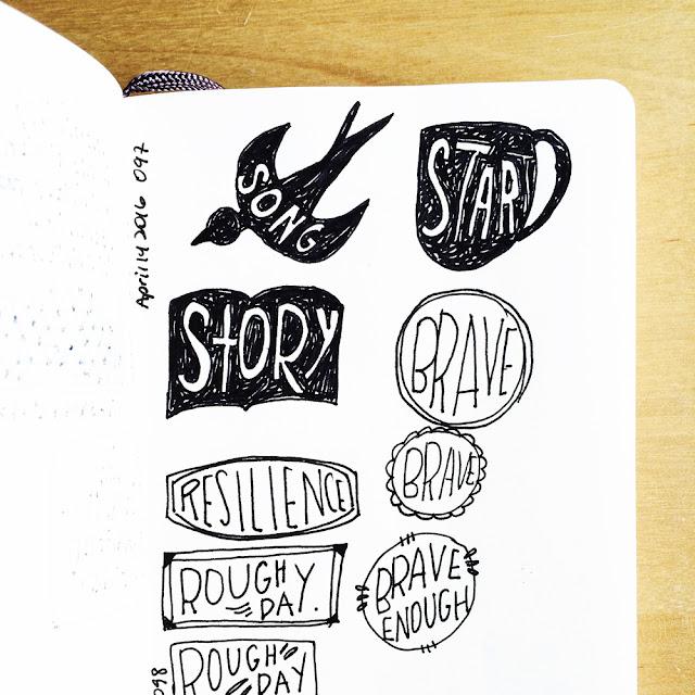 sketchbook conversations, sketchbooks, Moleskine, micron pen, hand lettering, inspiration, Anika Lacerte