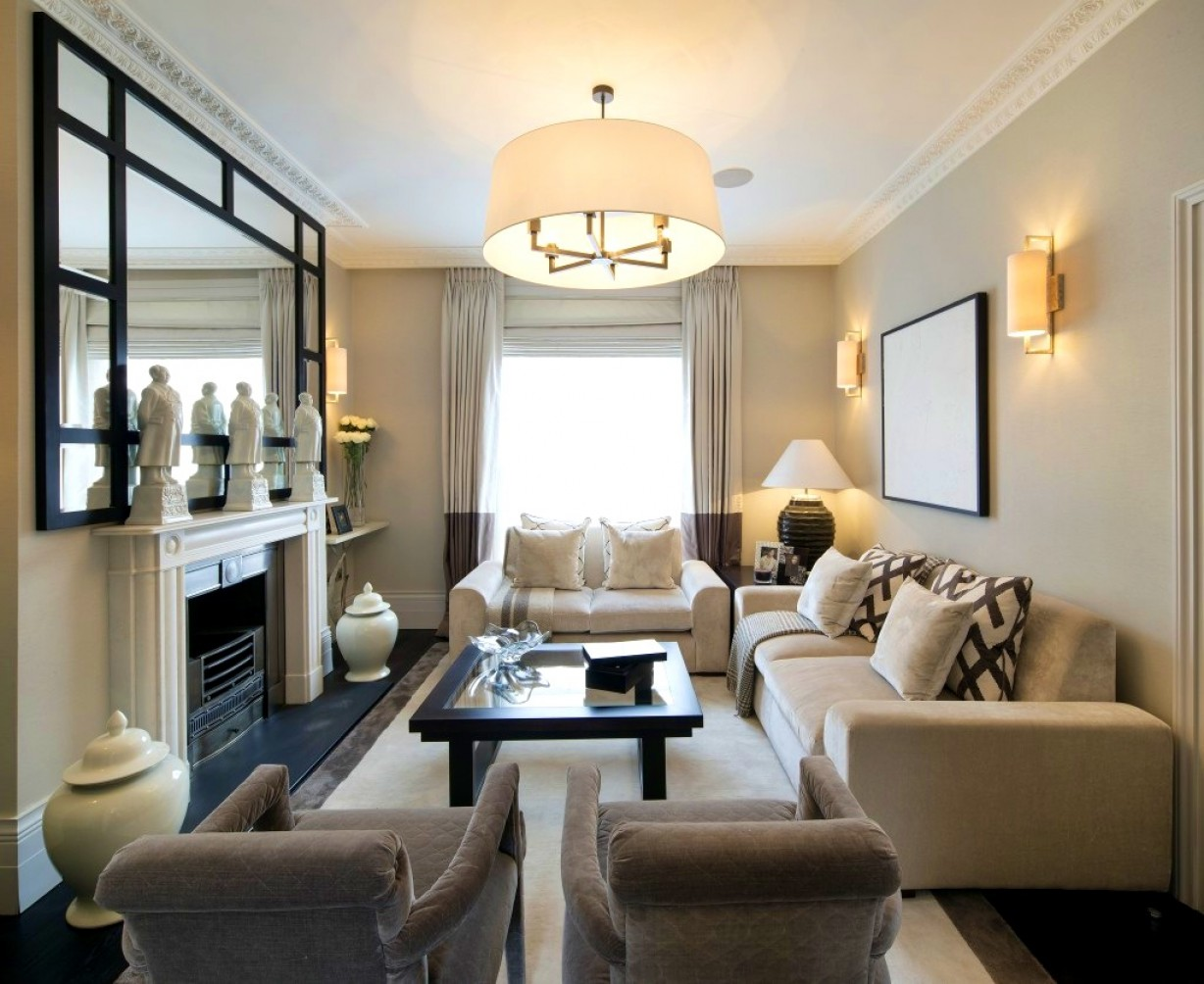 Fine Long Narrow Living Room With Fireplace In Center ...
