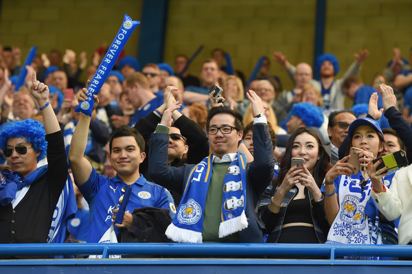 Vice Chairman Aiyawatt Srivaddhanaprabha of Leicester City celebrates during the Barclays Premier League match between Chelsea and Leicester City at Stamford Bridge on May 15, 2016 in London, England