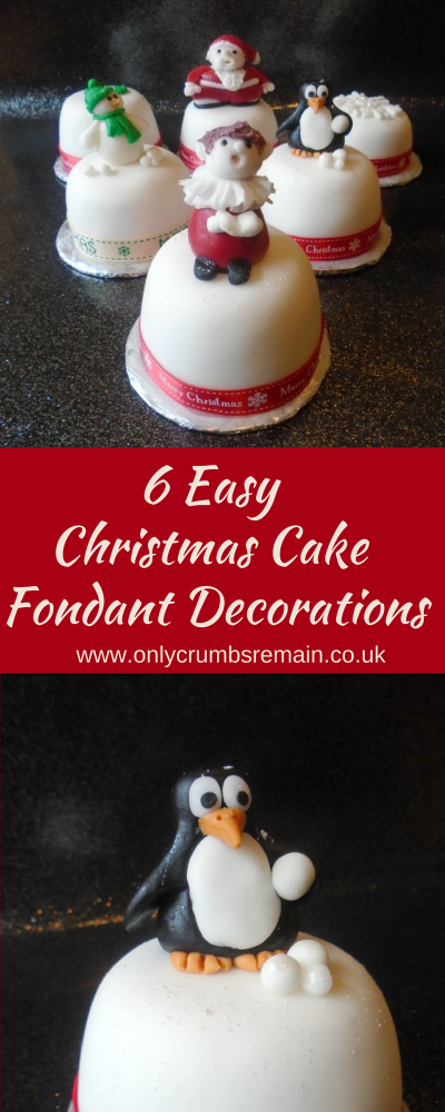 6 easy to make fondant Christmas cake characters and shapes: a snowman, a penguin, Father Christmas, a choir boy, a holly cluster and a snowflake.  Perfect to adorn Christmas cake gifts.