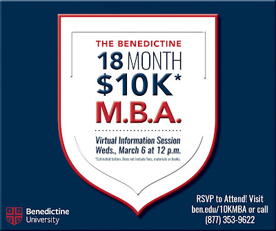 Illustrated text poster: The Benedictine 18 month $10K MBA.  Virtual Information Session Wed., March 6 at noon.  See blog for remaining text