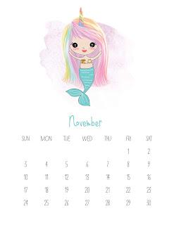 Sirenitas: Calendario 2019 para Imprimir Gratis.