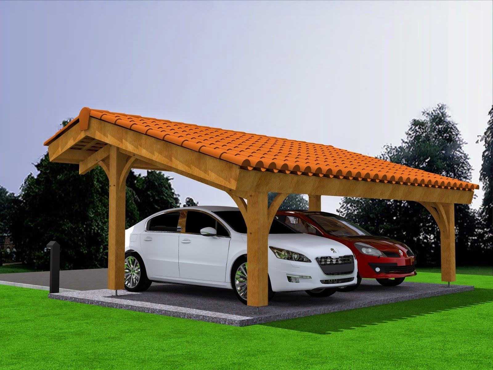 mod lisation projet carport bois 2 voitures avec. Black Bedroom Furniture Sets. Home Design Ideas