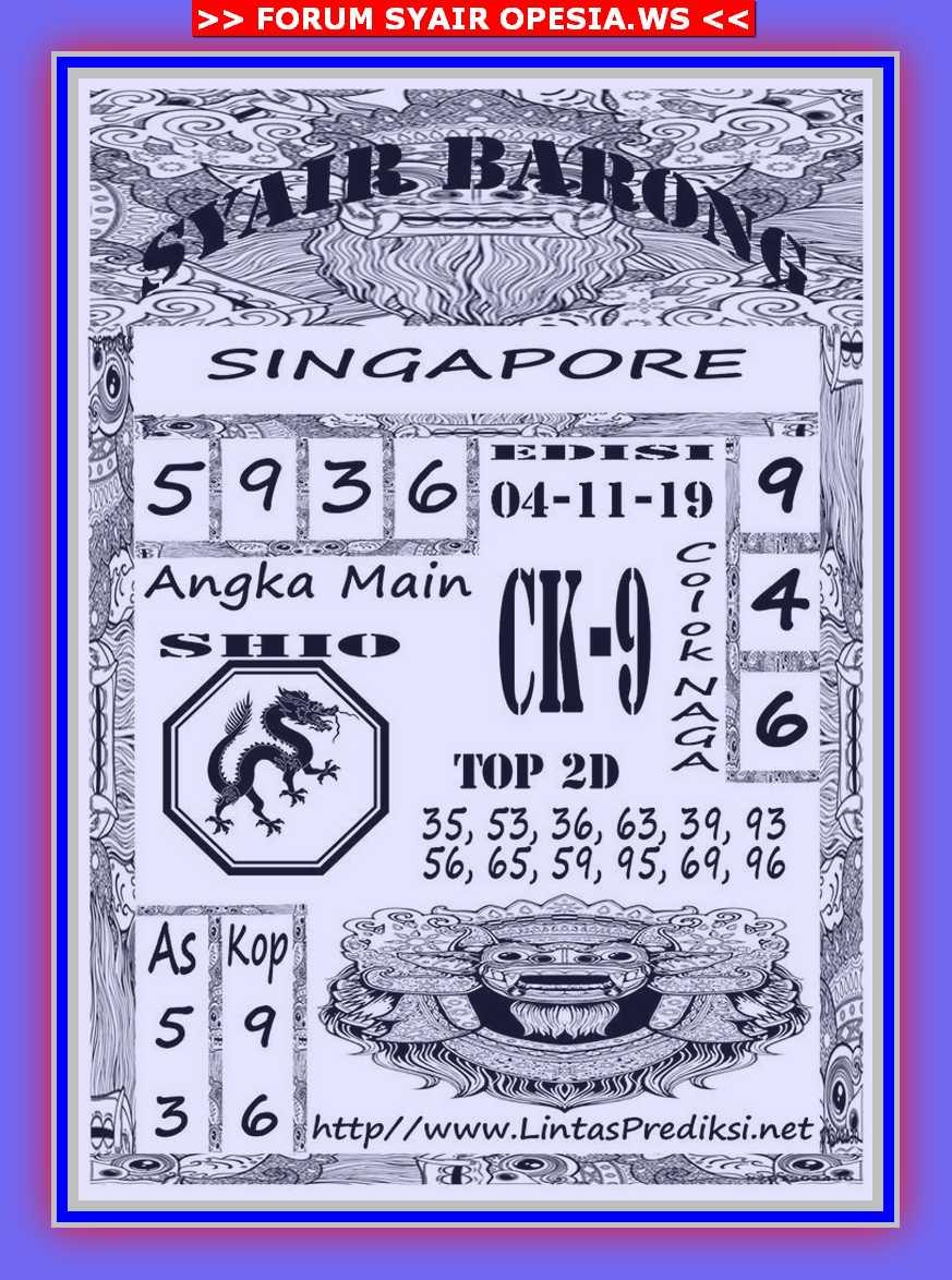 Kode syair Singapore Senin 4 November 2019 4