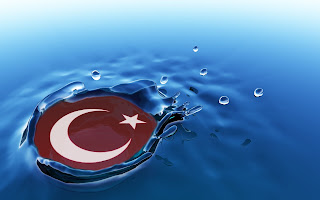 mükemmel bir 3d türk bayrağı suya düşmüş türk bayrak çalışması