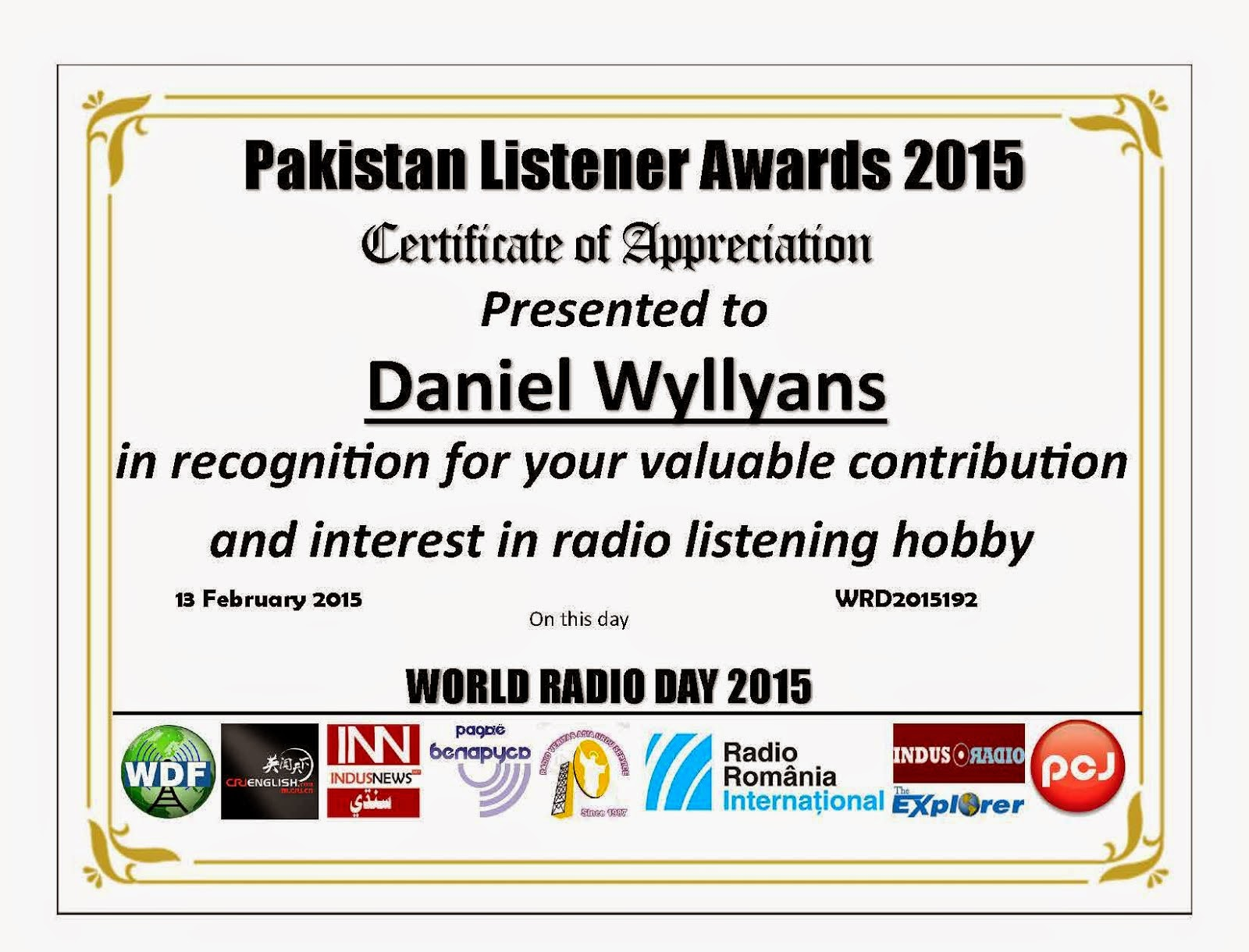 Certificado Pakistan Listener Awards