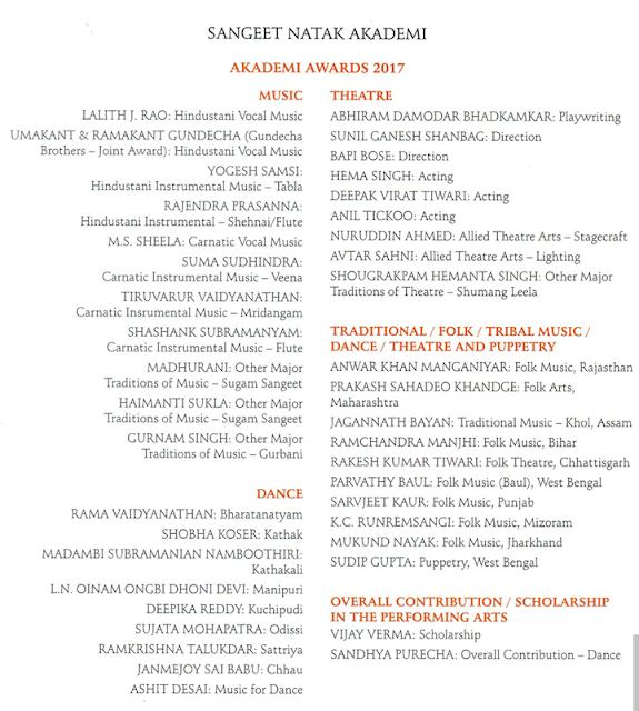 Download Winners of Sangeet Natak Akademi Awards – 2017