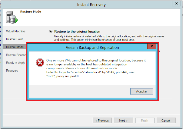 One or more VMs cannot be restored to the original location, because it is no longer available, or th host has outdated integration components.
