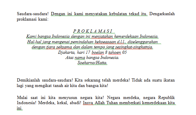Teks Pidato Proklamasi Kemerdekaan Indonesia
