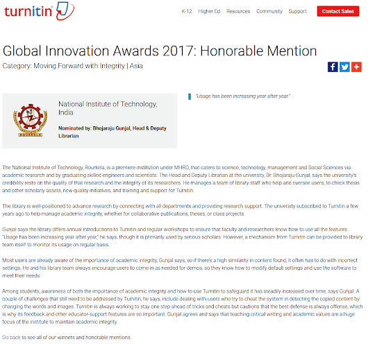 NITR has awarded for Global Innovation Awards 2017: Honorable Mention by Turnitn.
