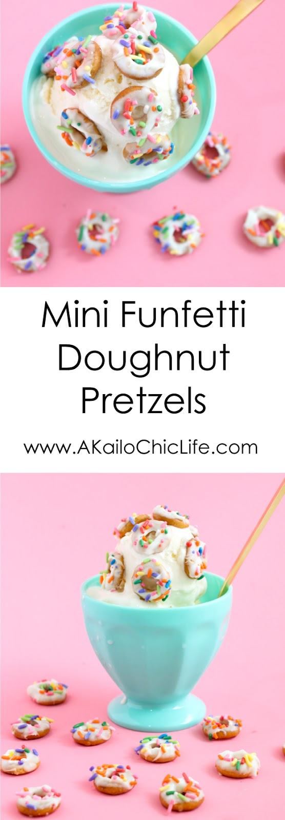 Mini Funfetti Doughnut Pretzels - White Chocolate dipped pretzels with sprinkles - look like mini doughnuts - perfect ice cream topper or donut sprinkles - recipe food dessert