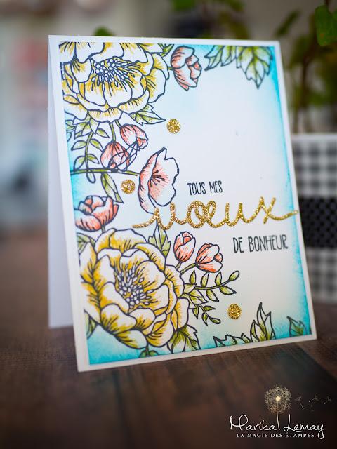 carte florale avec thinlits voeux de Noël