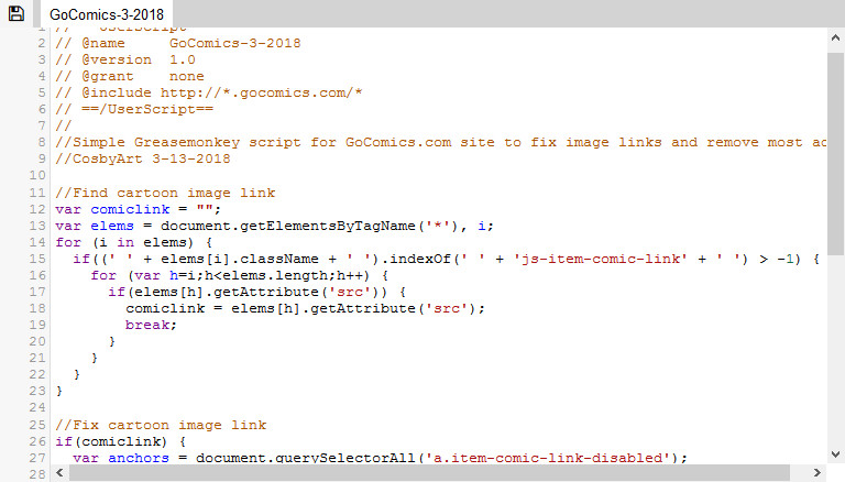 CosbyArt: Greasemonkey Script for GoComics