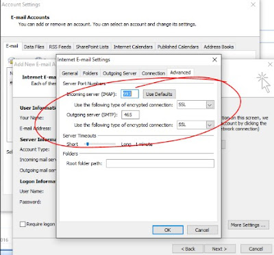 outlook gmail imap smtp port settings