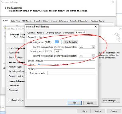 outlook gmail imap smtp port settings