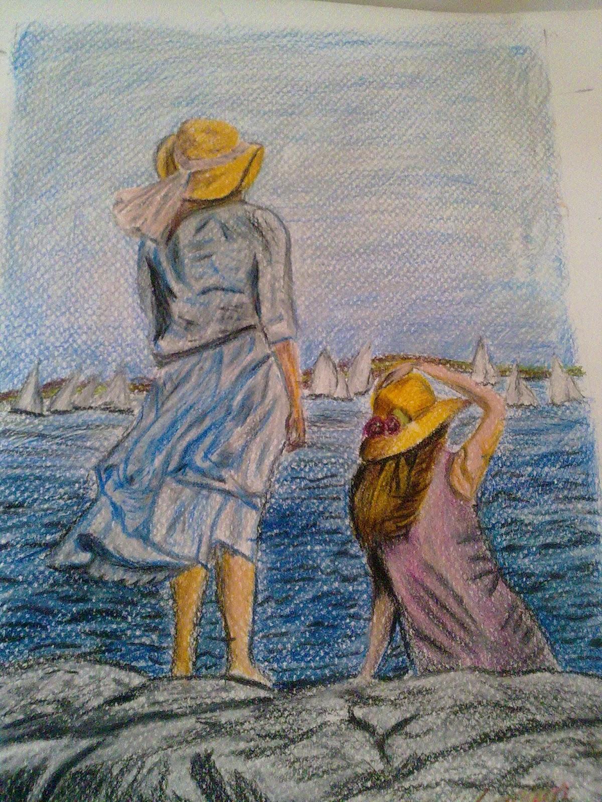 Renkli karakalem çalışmaları ve çizimleri