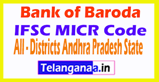 Bank of Baroda IFSC MICR Code All Districts Andhra Pradesh State