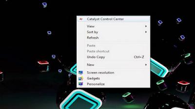 Untuk membuka Driver Klik kanan pada jendela Desktop lalu pilih Catalys / Crimson.
