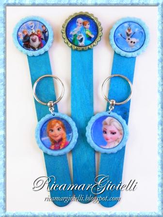 Segnalibri Frozen, portachiavi Frozen, ciondoli Frozen, fermagli per capelli Frozen riciclando tappi di bottiglia
