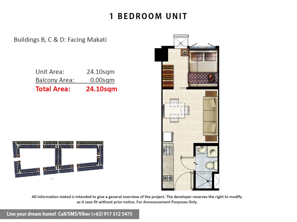 Floor Plan of SMDC Shore Residences - 1 Bedroom | Condominium for Sale SM Mall of Asia Pasay