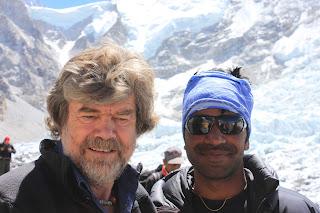 Reinhold Messner pictured at Everest base camp