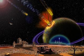asteroides atingindo um planeta