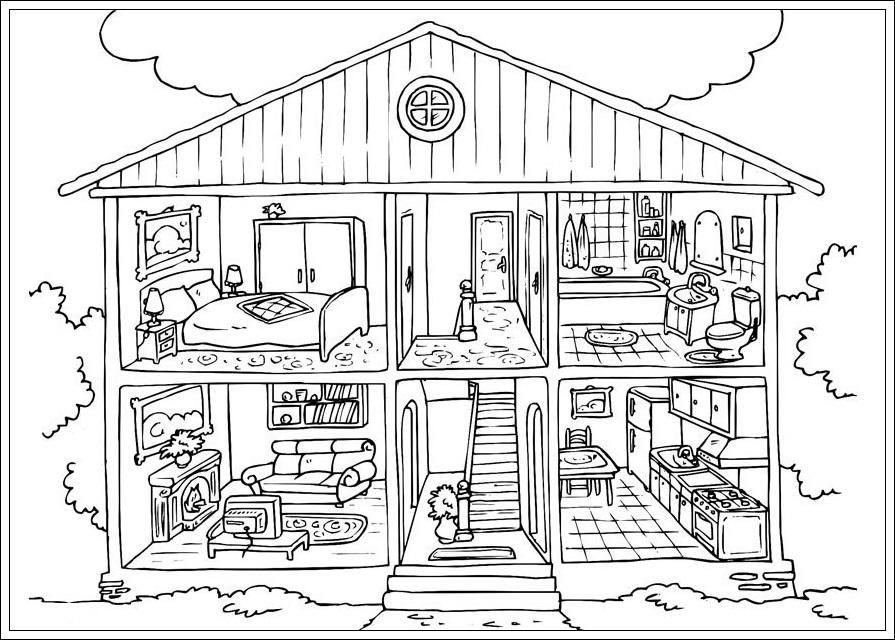 Ausmalbilder Haus zum Ausdrucken  Ausmalbilder