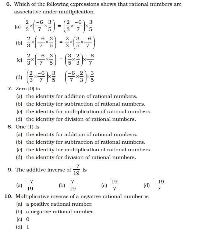 DCMC MATH Class 8: Second M.C.Q. type worksheet on rational numbers