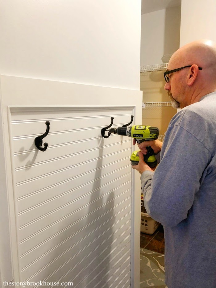 Attaching hooks to mudroom wall