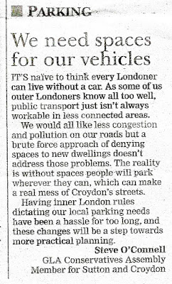 Steve O'Connell letter about parking from Croydon Advertiser