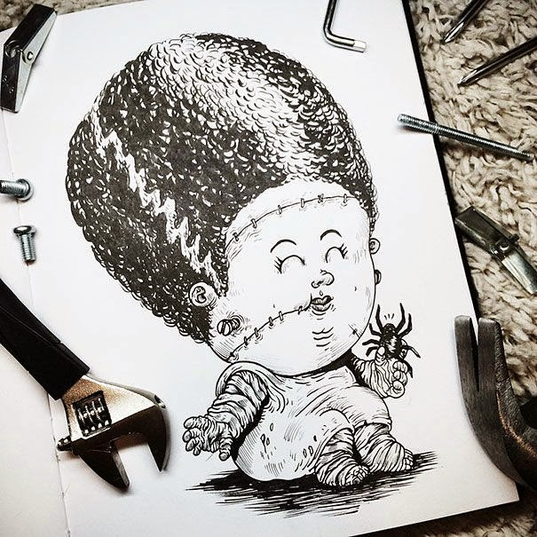 14-Bride-of-Frankenstein-Alex-Solis-Baby-Terrors-Drawings-Horror-Movie-Villains-www-designstack-co