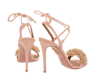 Aquazzura Monaco Suede Sandals in Blush