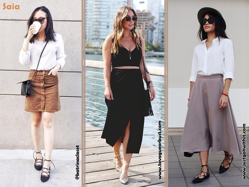 Como usar sapatilha lace up, Flats, Shoes, Sapatos, Sapatilhas de amarrar, Look, saia, Estilo, Moda, Fashion, Tendência